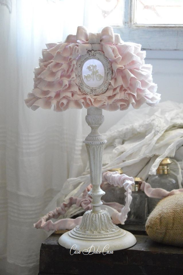 画像1: ランプシェード Rosalia Linen&フランスアンティーク ランプスタンドセット